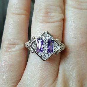 Jewelry - Silver retro amethyst costume ring